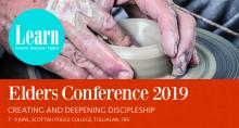 Elders Conference 2019 poster potter's hands working on a pot
